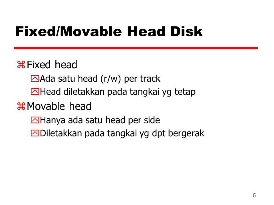 5 Fixed/Movable Head Disk zFixed head yAda satu head (r/w) per track yHead diletakkan pada tangkai yg tetap zMovable head yHanya ada satu head per sid