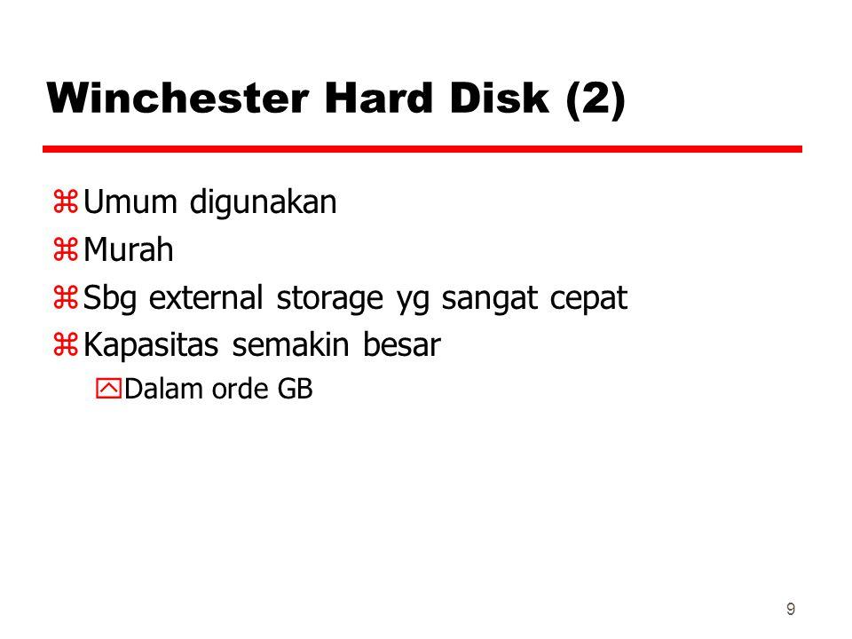 9 Winchester Hard Disk (2) zUmum digunakan zMurah zSbg external storage yg sangat cepat zKapasitas semakin besar yDalam orde GB