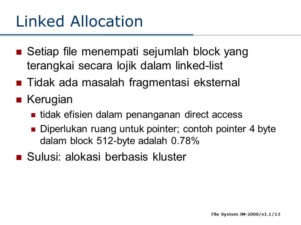 File System JM-2000/v1.1/13 Linked Allocation  Setiap file menempati sejumlah block yang terangkai secara lojik dalam linked-list  Tidak ada masalah