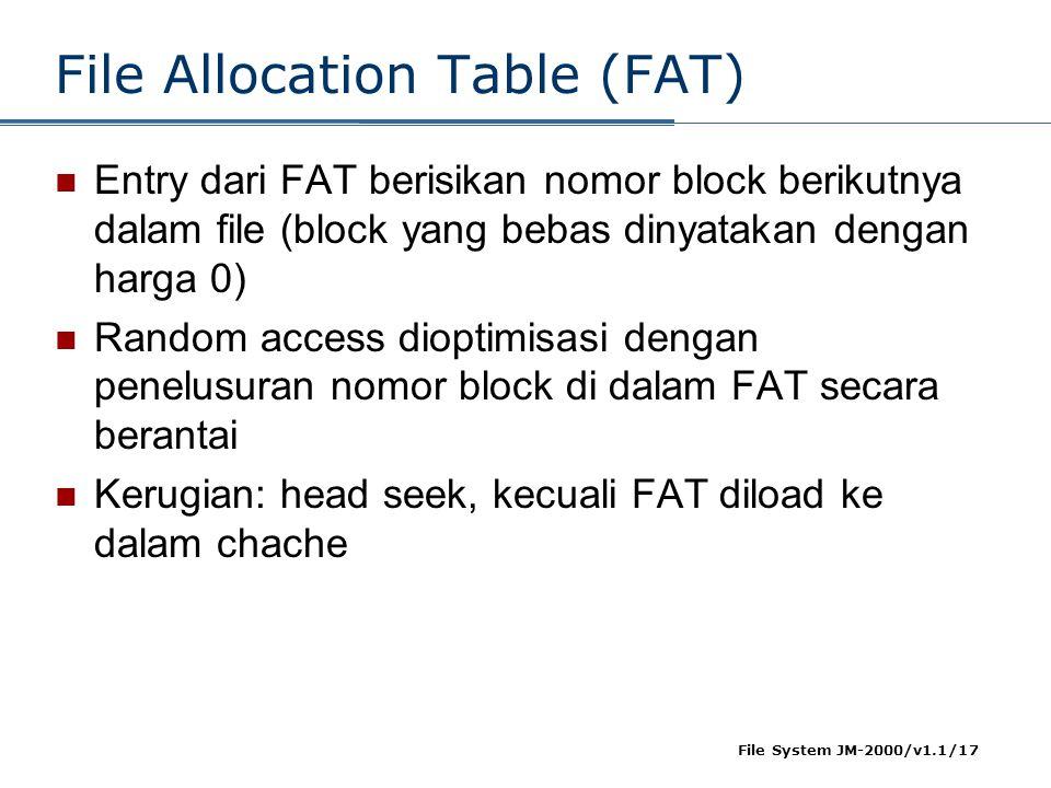 File System JM-2000/v1.1/17 File Allocation Table (FAT)  Entry dari FAT berisikan nomor block berikutnya dalam file (block yang bebas dinyatakan deng