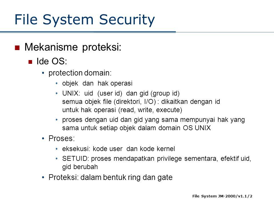 File System JM-2000/v1.1/2 File System Security  Mekanisme proteksi:  Ide OS: •protection domain: •objek dan hak operasi •UNIX: uid (user id) dan gi