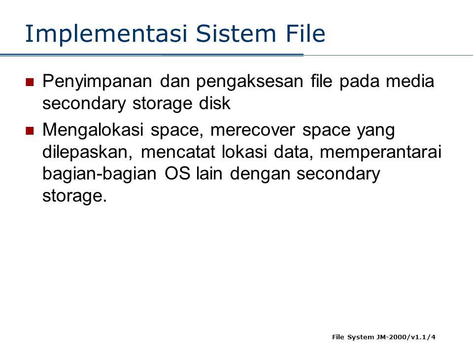 File System JM-2000/v1.1/4 Implementasi Sistem File  Penyimpanan dan pengaksesan file pada media secondary storage disk  Mengalokasi space, merecove