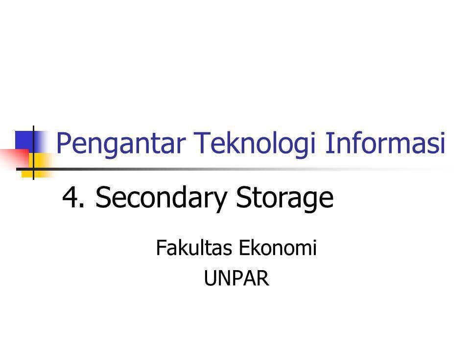 Pengantar Teknologi Informasi Fakultas Ekonomi UNPAR 4. Secondary Storage