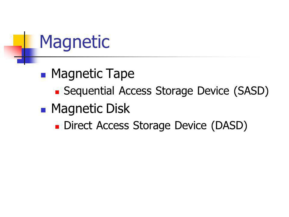 Magnetic MMagnetic Tape SSequential Access Storage Device (SASD) MMagnetic Disk DDirect Access Storage Device (DASD)