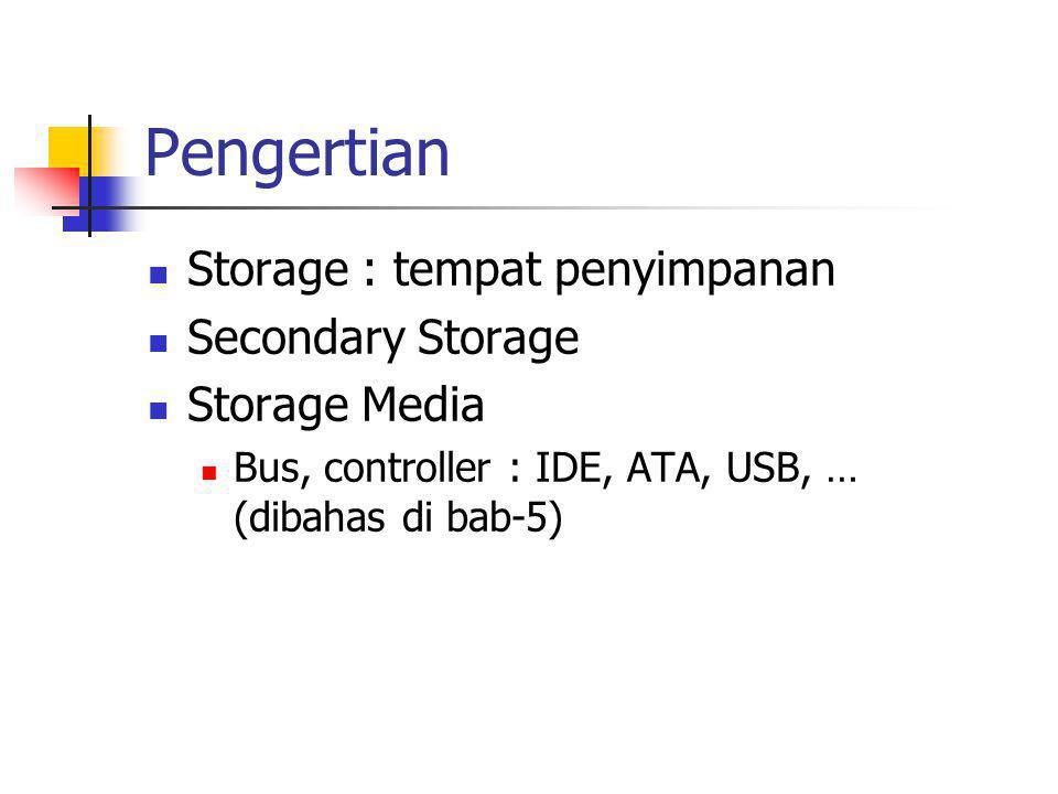 Pengertian  Storage : tempat penyimpanan  Secondary Storage  Storage Media  Bus, controller : IDE, ATA, USB, … (dibahas di bab-5)