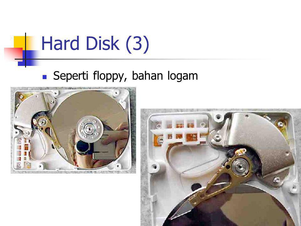 Hard Disk (3)  Seperti floppy, bahan logam
