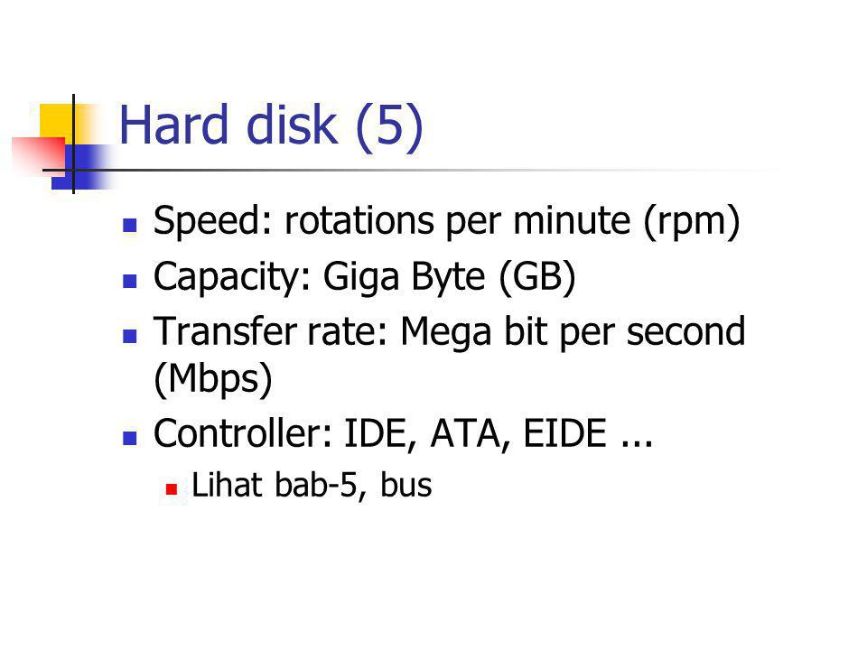 Hard disk (5)  Speed: rotations per minute (rpm)  Capacity: Giga Byte (GB)  Transfer rate: Mega bit per second (Mbps)  Controller: IDE, ATA, EIDE.