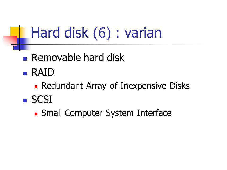 Hard disk, removable  bracket •USB v1.1 data transfer 12Mbits/sec.