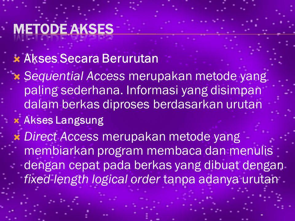  Akses Secara Berurutan  Sequential Access merupakan metode yang paling sederhana.