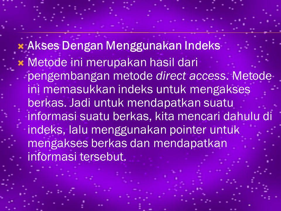  Akses Dengan Menggunakan Indeks  Metode ini merupakan hasil dari pengembangan metode direct access.