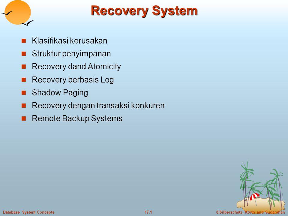 ©Silberschatz, Korth and Sudarshan17.1Database System Concepts Recovery System  Klasifikasi kerusakan  Struktur penyimpanan  Recovery dand Atomicity  Recovery berbasis Log  Shadow Paging  Recovery dengan transaksi konkuren  Remote Backup Systems