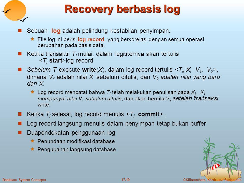 ©Silberschatz, Korth and Sudarshan17.10Database System Concepts Recovery berbasis log  Sebuah log adalah pelindung kestabilan penyimpan.  File log i