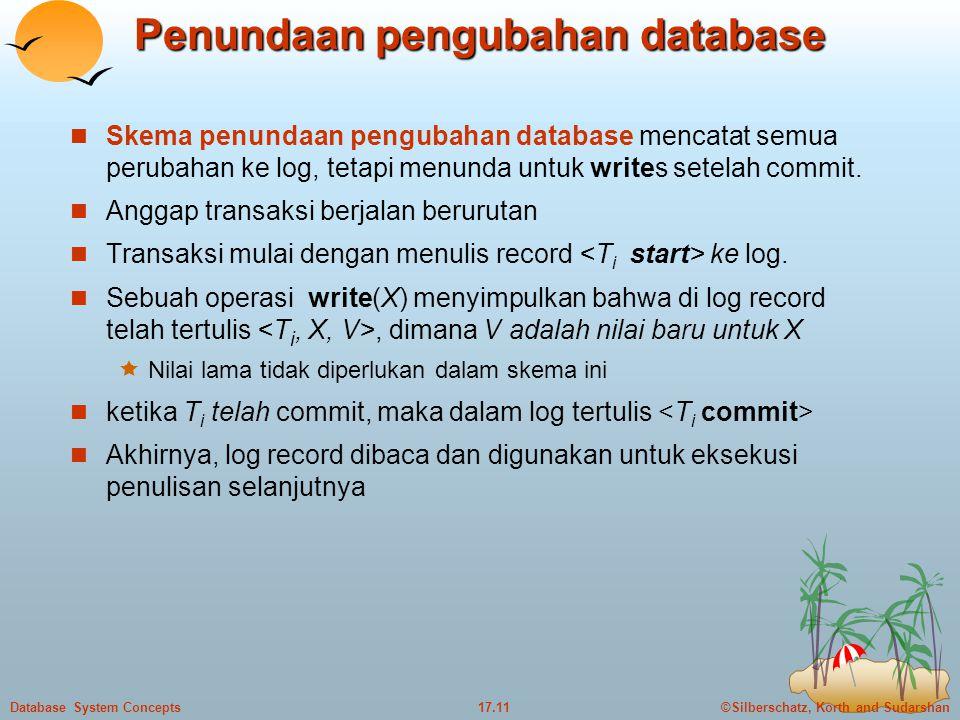 ©Silberschatz, Korth and Sudarshan17.11Database System Concepts Penundaan pengubahan database  Skema penundaan pengubahan database mencatat semua perubahan ke log, tetapi menunda untuk writes setelah commit.