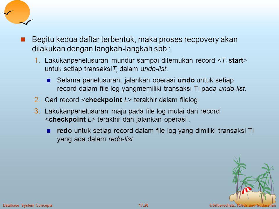 ©Silberschatz, Korth and Sudarshan17.28Database System Concepts  Begitu kedua daftar terbentuk, maka proses recpovery akan dilakukan dengan langkah-langkah sbb : 1.