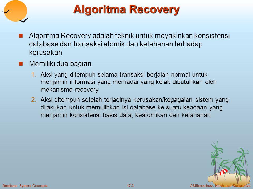 ©Silberschatz, Korth and Sudarshan17.3Database System Concepts Algoritma Recovery  Algoritma Recovery adalah teknik untuk meyakinkan konsistensi database dan transaksi atomik dan ketahanan terhadap kerusakan  Memiliki dua bagian 1.