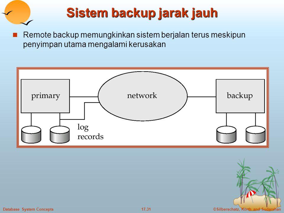 ©Silberschatz, Korth and Sudarshan17.31Database System Concepts Sistem backup jarak jauh  Remote backup memungkinkan sistem berjalan terus meskipun penyimpan utama mengalami kerusakan
