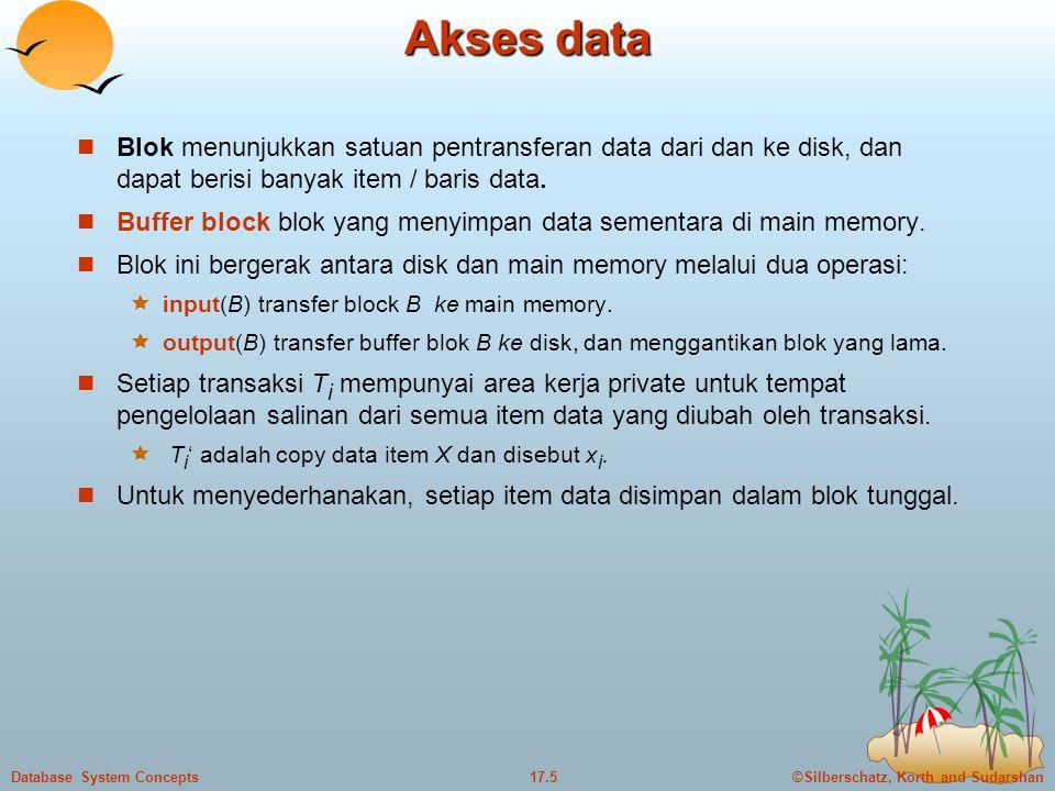 ©Silberschatz, Korth and Sudarshan17.5Database System Concepts Akses data  Blok menunjukkan satuan pentransferan data dari dan ke disk, dan dapat berisi banyak item / baris data.