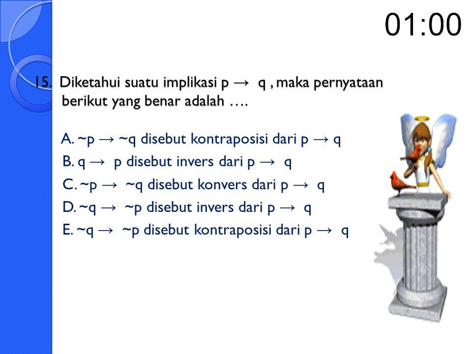 14.Kontraposisi dari pernyataan jika x bilangan bulat, maka x + 2 > 11 adalah ….