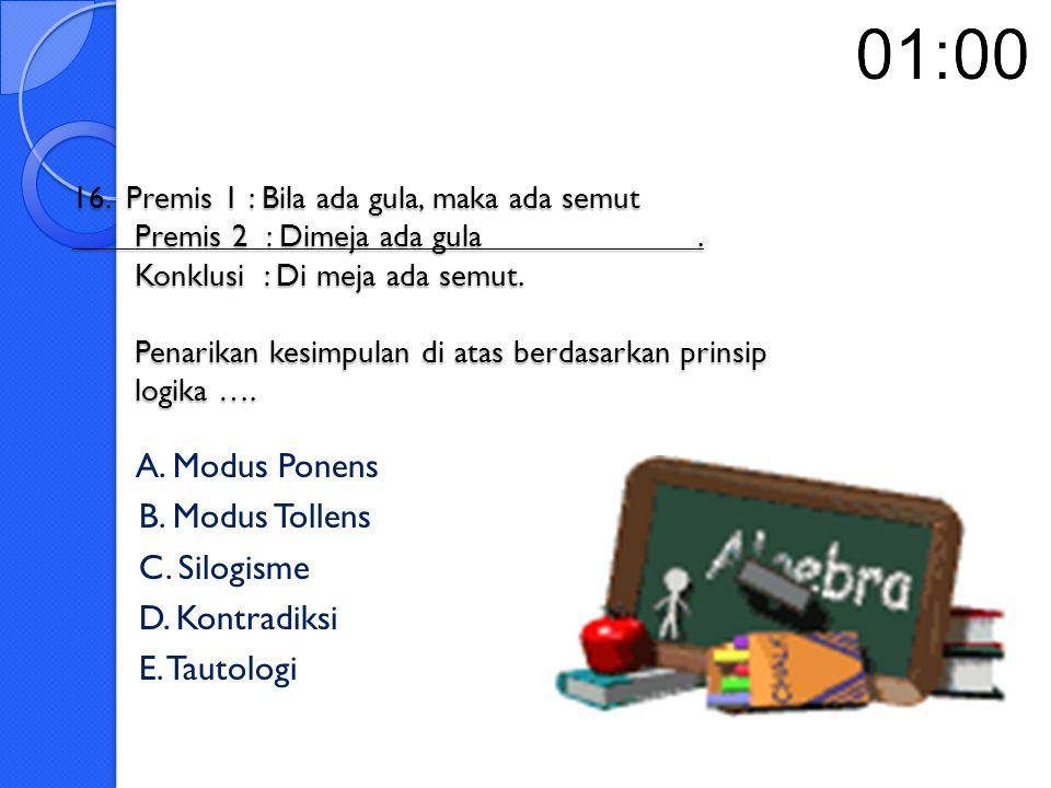 15.Diketahui suatu implikasi p → q, maka pernyataan berikut yang benar adalah ….