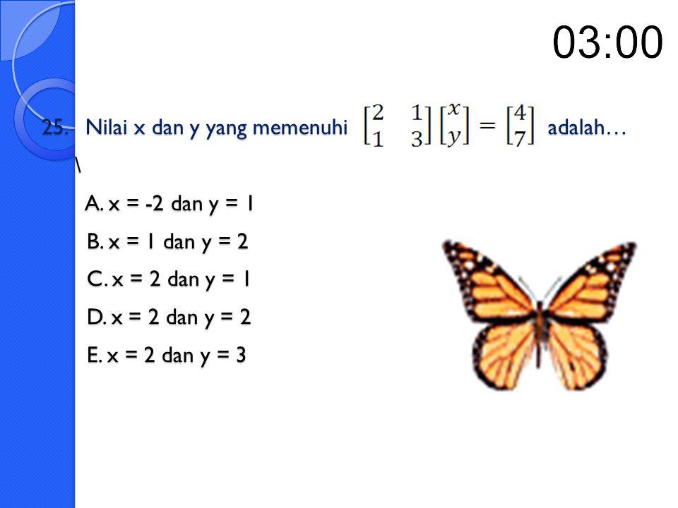 24. Diketahui matriks A =, Invers dari matriks A adalah…. A. B. C. D. E.