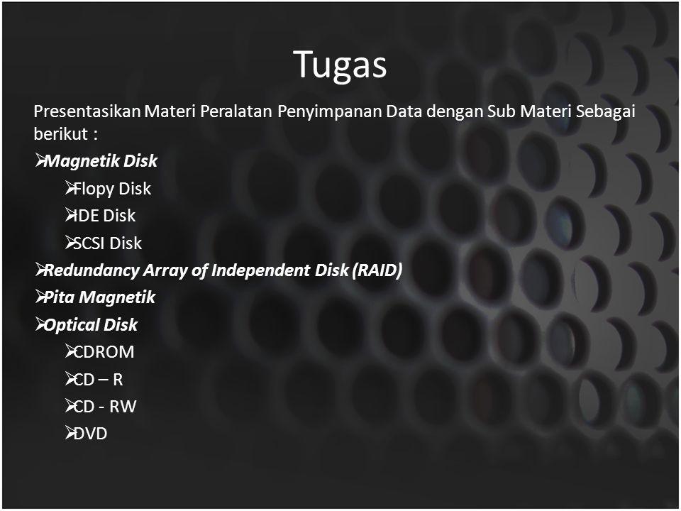 Tugas Presentasikan Materi Peralatan Penyimpanan Data dengan Sub Materi Sebagai berikut :  Magnetik Disk  Flopy Disk  IDE Disk  SCSI Disk  Redund