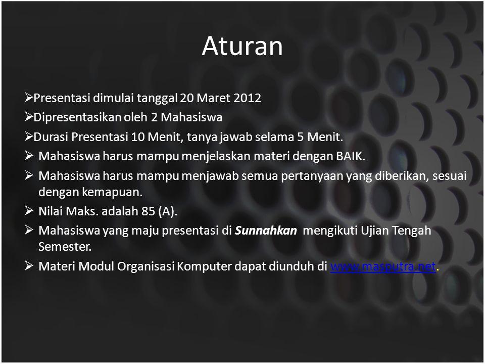Aturan  Presentasi dimulai tanggal 20 Maret 2012  Dipresentasikan oleh 2 Mahasiswa  Durasi Presentasi 10 Menit, tanya jawab selama 5 Menit.  Mahas