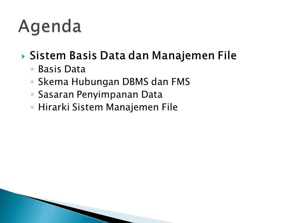  Sistem Basis Data dan Manajemen File ◦ Basis Data ◦ Skema Hubungan DBMS dan FMS ◦ Sasaran Penyimpanan Data ◦ Hirarki Sistem Manajemen File