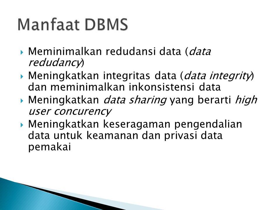  Meminimalkan redudansi data (data redudancy)  Meningkatkan integritas data (data integrity) dan meminimalkan inkonsistensi data  Meningkatkan data sharing yang berarti high user concurency  Meningkatkan keseragaman pengendalian data untuk keamanan dan privasi data pemakai