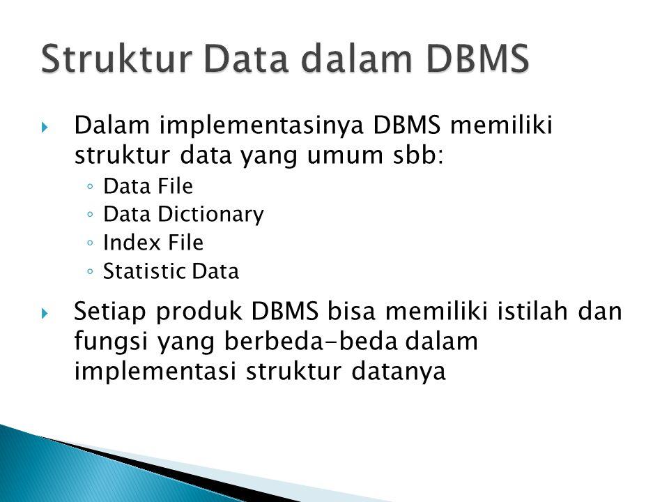  Dalam implementasinya DBMS memiliki struktur data yang umum sbb: ◦ Data File ◦ Data Dictionary ◦ Index File ◦ Statistic Data  Setiap produk DBMS bisa memiliki istilah dan fungsi yang berbeda-beda dalam implementasi struktur datanya