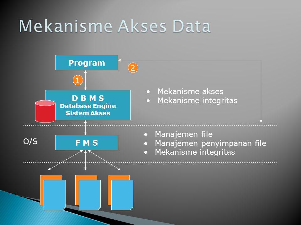 D B M S Database Engine Sistem Akses F M S O/S •Manajemen file •Manajemen penyimpanan file •Mekanisme integritas •Mekanisme akses •Mekanisme integritas Program 1 2
