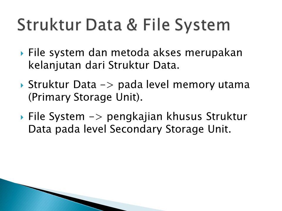  File system dan metoda akses merupakan kelanjutan dari Struktur Data.