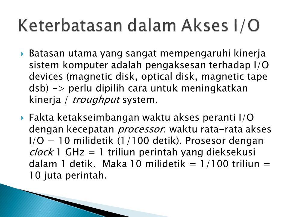  Batasan utama yang sangat mempengaruhi kinerja sistem komputer adalah pengaksesan terhadap I/O devices (magnetic disk, optical disk, magnetic tape dsb) -> perlu dipilih cara untuk meningkatkan kinerja / troughput system.