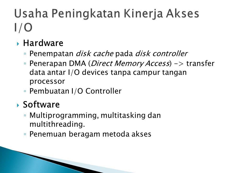 Hardware ◦ Penempatan disk cache pada disk controller ◦ Penerapan DMA (Direct Memory Access) -> transfer data antar I/O devices tanpa campur tangan processor ◦ Pembuatan I/O Controller  Software ◦ Multiprogramming, multitasking dan multithreading.