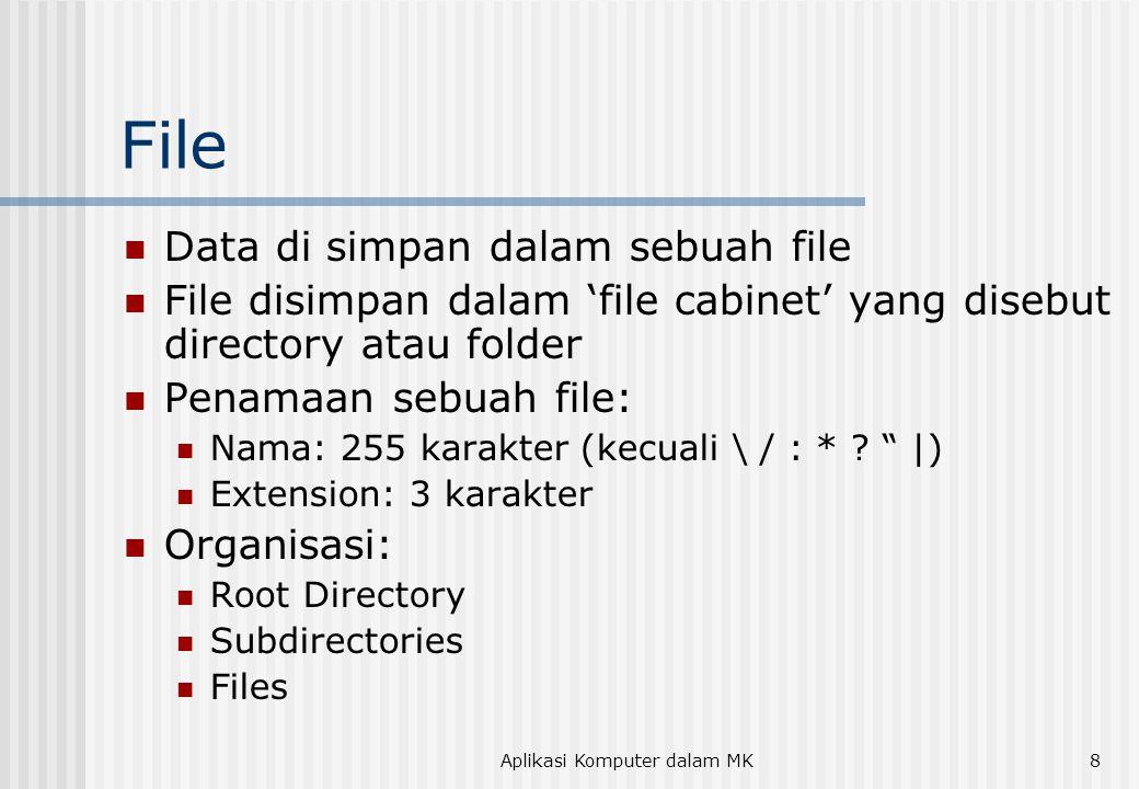 8 File  Data di simpan dalam sebuah file  File disimpan dalam 'file cabinet' yang disebut directory atau folder  Penamaan sebuah file:  Nama: 255
