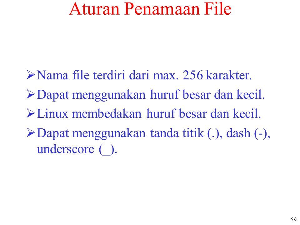 59 Aturan Penamaan File  Nama file terdiri dari max. 256 karakter.  Dapat menggunakan huruf besar dan kecil.  Linux membedakan huruf besar dan keci