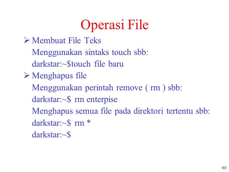 60 Operasi File  Membuat File Teks Menggunakan sintaks touch sbb: darkstar:~$touch file baru  Menghapus file Menggunakan perintah remove ( rm ) sbb: