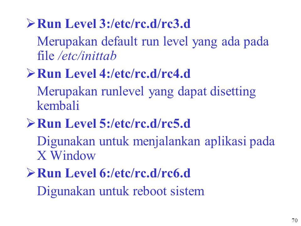 70  Run Level 3:/etc/rc.d/rc3.d Merupakan default run level yang ada pada file /etc/inittab  Run Level 4:/etc/rc.d/rc4.d Merupakan runlevel yang dap
