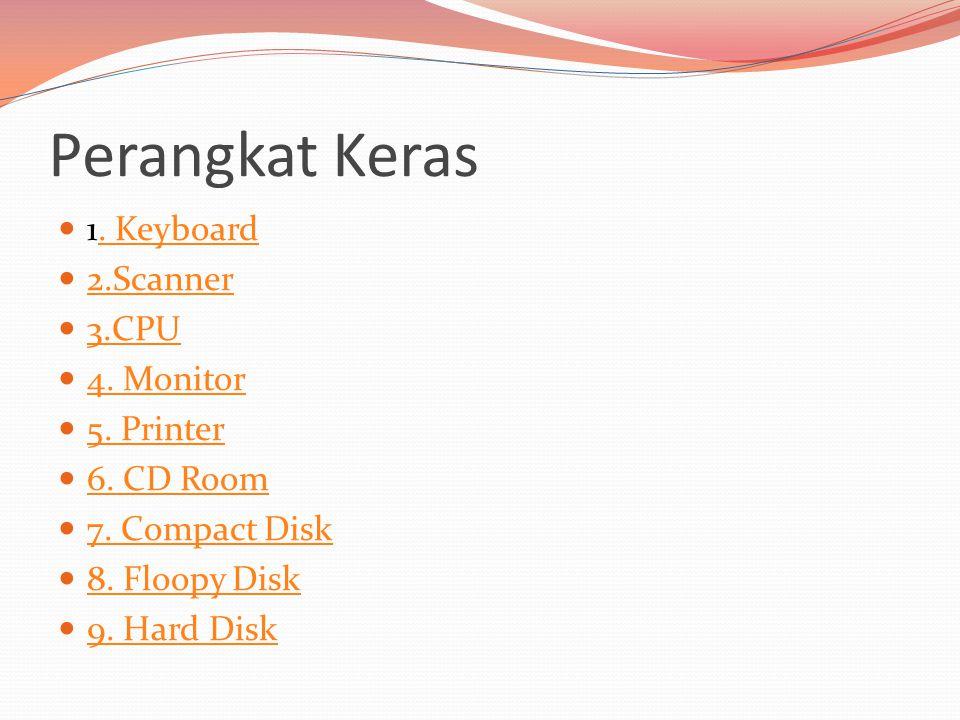 Perangkat Keras  1. Keyboard. Keyboard  2.Scanner 2.Scanner  3.CPU 3.CPU  4. Monitor 4. Monitor  5. Printer 5. Printer  6. CD Room 6. CD Room 
