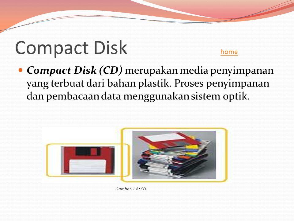Compact Disk home home  Compact Disk (CD) merupakan media penyimpanan yang terbuat dari bahan plastik. Proses penyimpanan dan pembacaan data mengguna