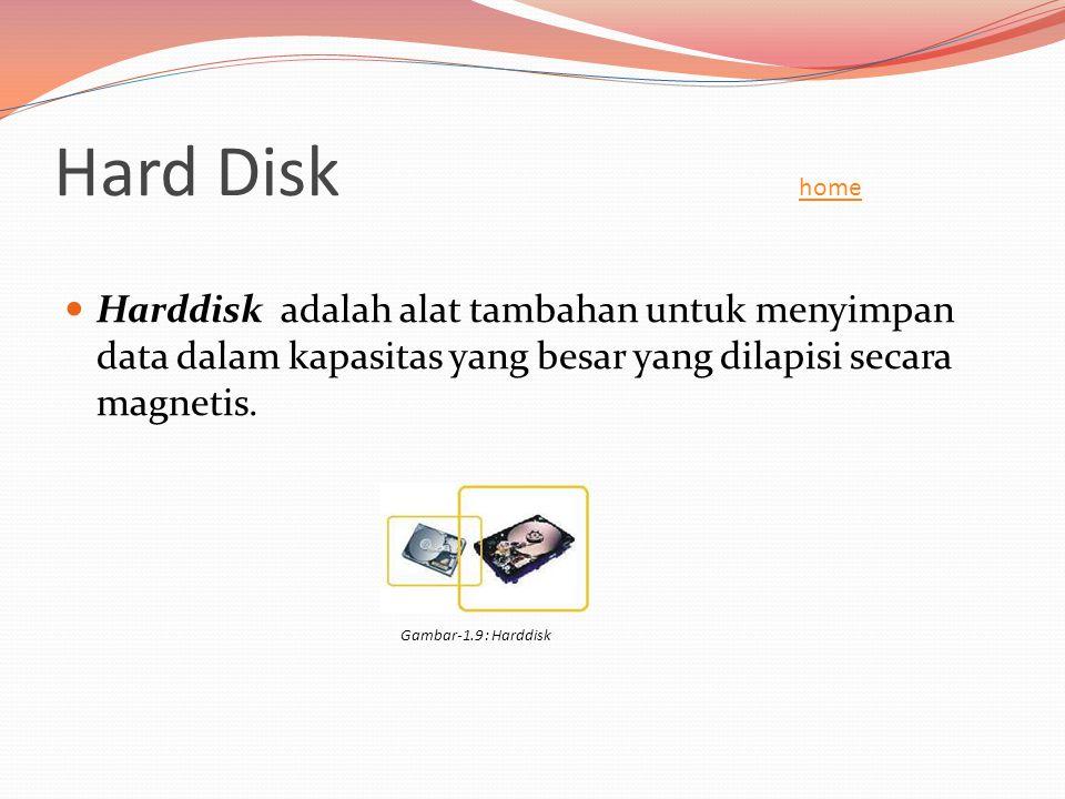 Hard Disk home home  Harddisk adalah alat tambahan untuk menyimpan data dalam kapasitas yang besar yang dilapisi secara magnetis. Gambar-1.9 : Harddi