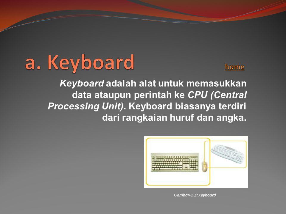 Keyboard adalah alat untuk memasukkan data ataupun perintah ke CPU (Central Processing Unit). Keyboard biasanya terdiri dari rangkaian huruf dan angka