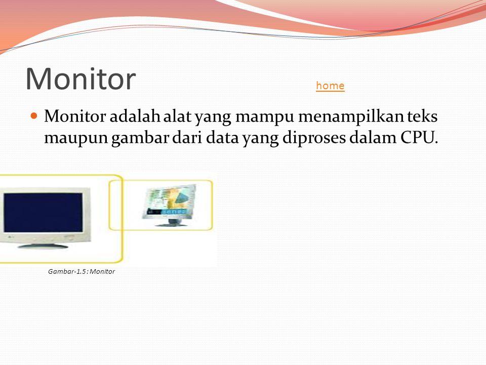 Monitor home home  Monitor adalah alat yang mampu menampilkan teks maupun gambar dari data yang diproses dalam CPU. Gambar-1.5 : Monitor