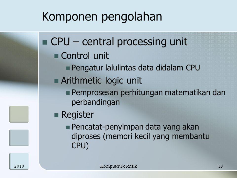 Komponen pengolahan  CPU – central processing unit  Control unit  Pengatur lalulintas data didalam CPU  Arithmetic logic unit  Pemprosesan perhit