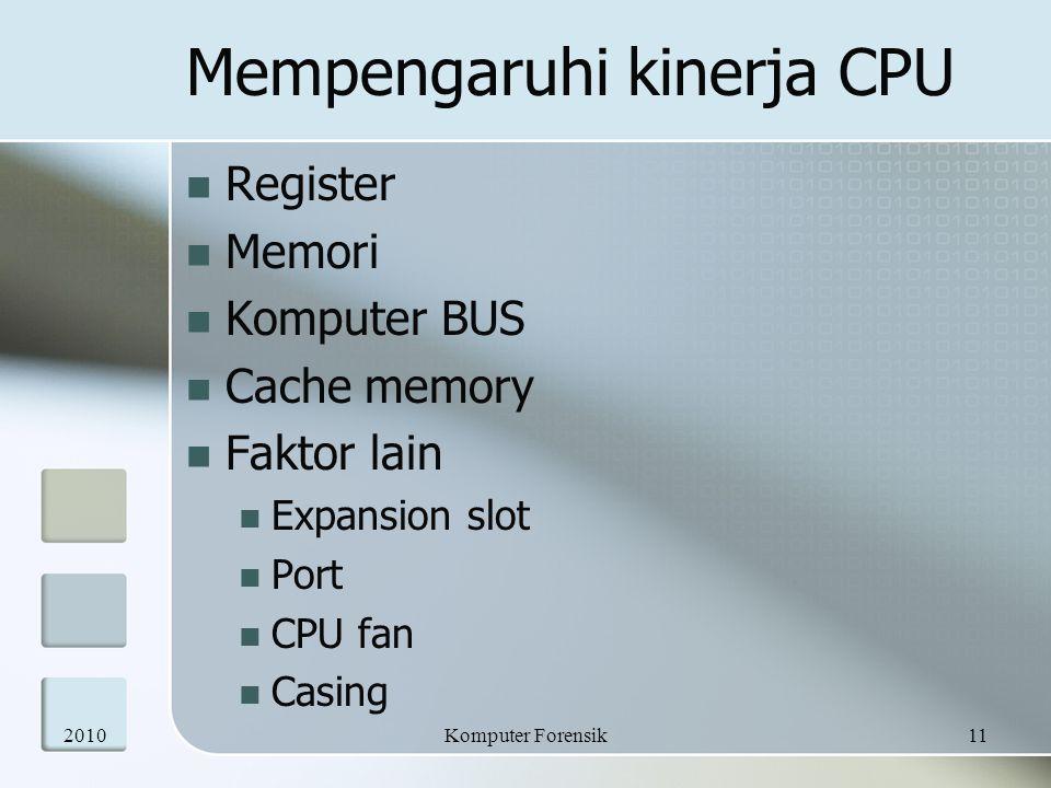 Mempengaruhi kinerja CPU  Register  Memori  Komputer BUS  Cache memory  Faktor lain  Expansion slot  Port  CPU fan  Casing 201011Komputer For
