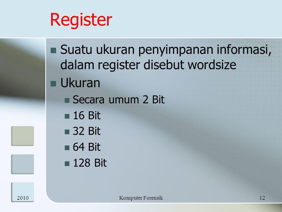 Register  Suatu ukuran penyimpanan informasi, dalam register disebut wordsize  Ukuran  Secara umum 2 Bit  16 Bit  32 Bit  64 Bit  128 Bit 20101