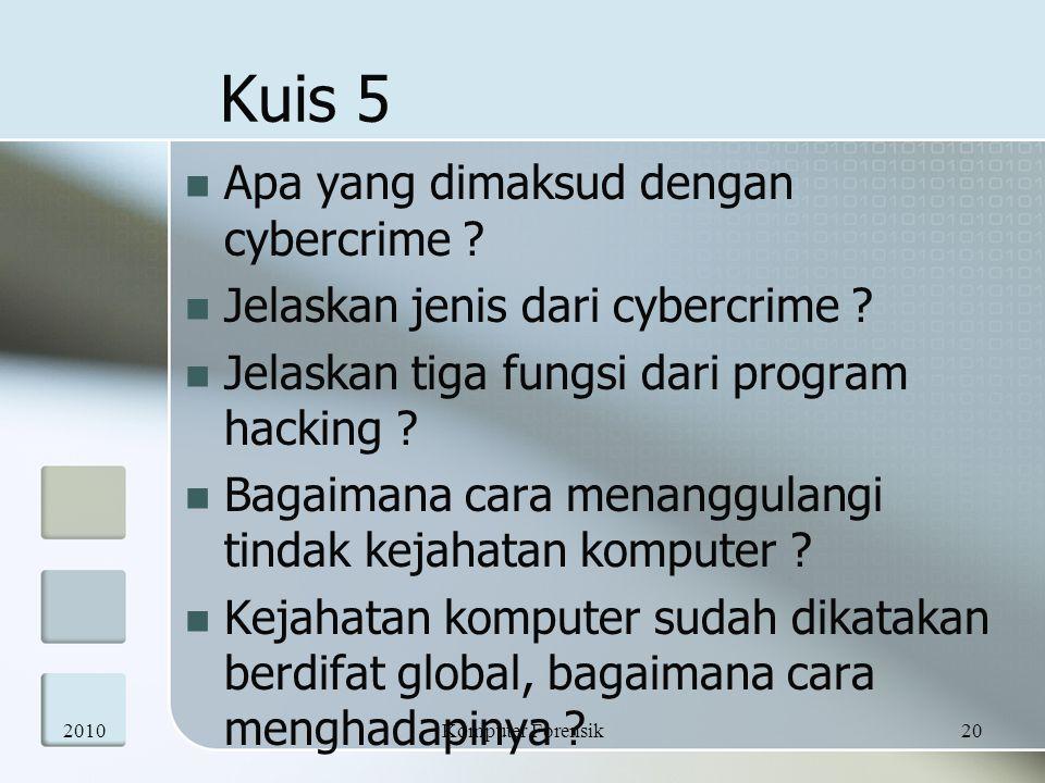  Apa yang dimaksud dengan cybercrime ?  Jelaskan jenis dari cybercrime ?  Jelaskan tiga fungsi dari program hacking ?  Bagaimana cara menanggulang