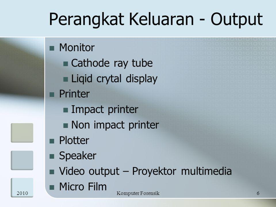 Perangkat Keluaran - Output  Monitor  Cathode ray tube  Liqid crytal display  Printer  Impact printer  Non impact printer  Plotter  Speaker 