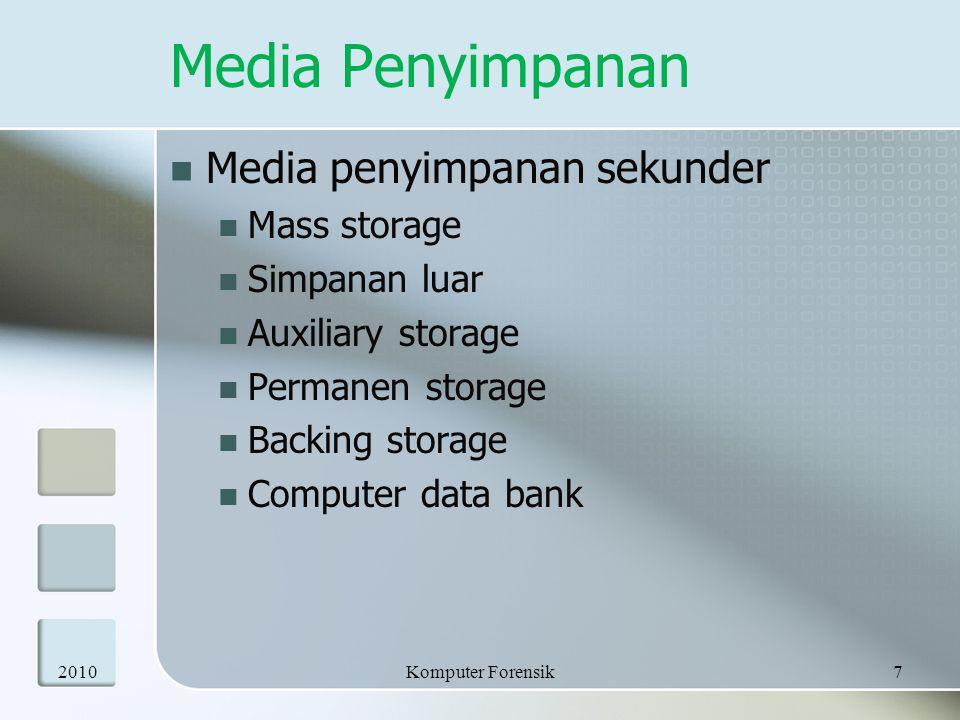 Media Penyimpanan  Media penyimpanan sekunder  Mass storage  Simpanan luar  Auxiliary storage  Permanen storage  Backing storage  Computer data
