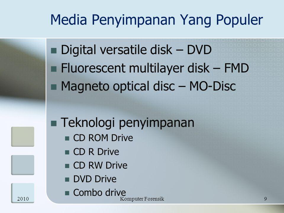 Media Penyimpanan Yang Populer  Digital versatile disk – DVD  Fluorescent multilayer disk – FMD  Magneto optical disc – MO-Disc  Teknologi penyimp