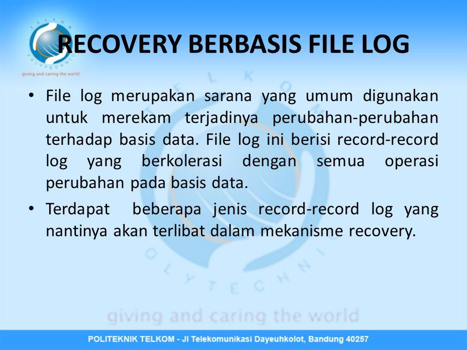 RECOVERY BERBASIS FILE LOG • File log merupakan sarana yang umum digunakan untuk merekam terjadinya perubahan-perubahan terhadap basis data. File log